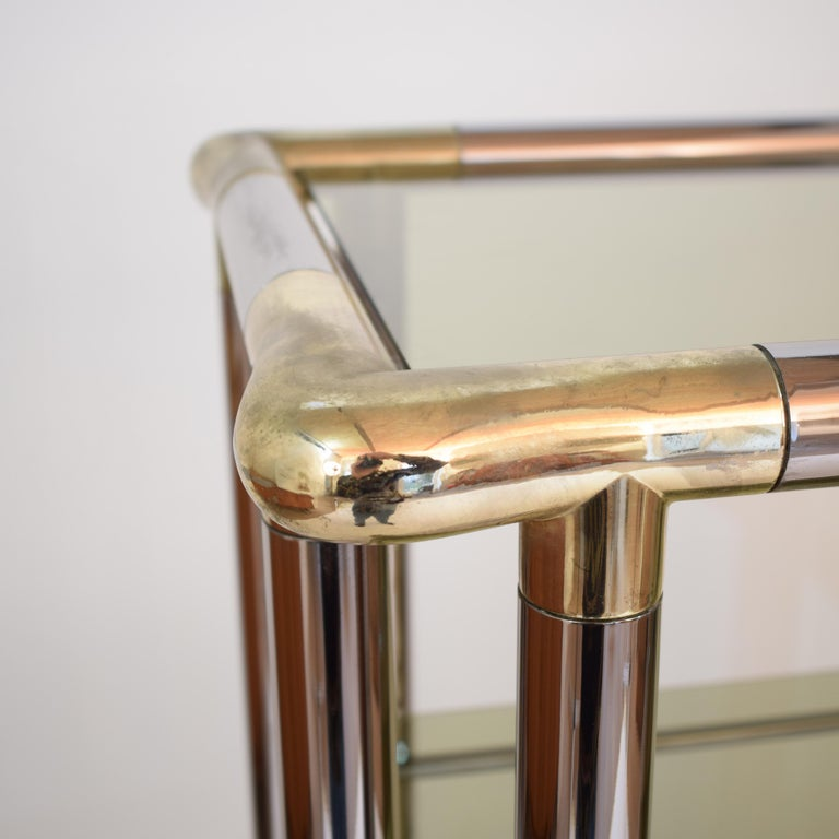 Late 20th Century Midcentury French Hollywood Regency Chrome Brass Étagère Display Glass Shelf For Sale