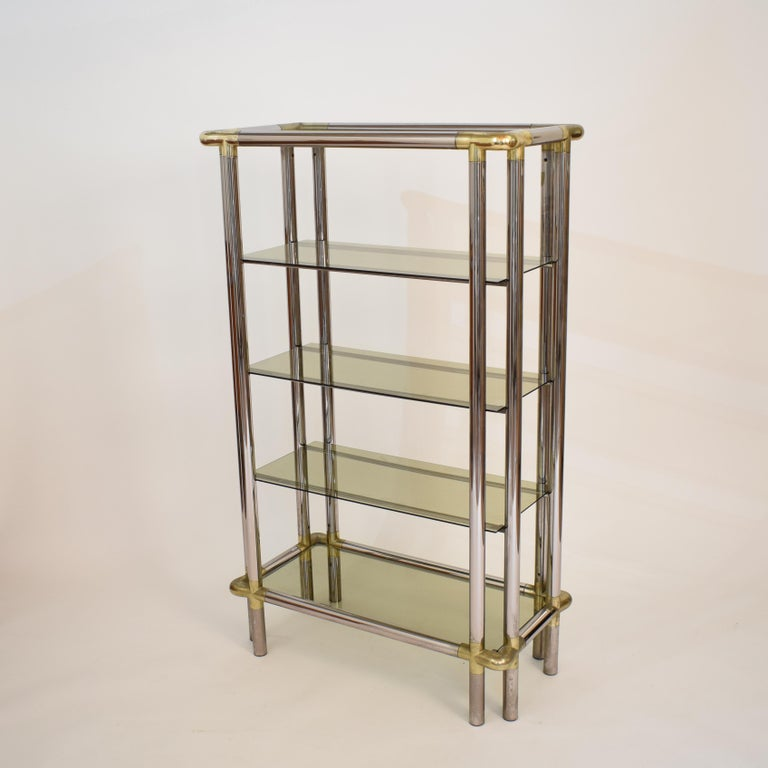 Midcentury French Hollywood Regency Chrome Brass Étagère Display Glass Shelf For Sale 3