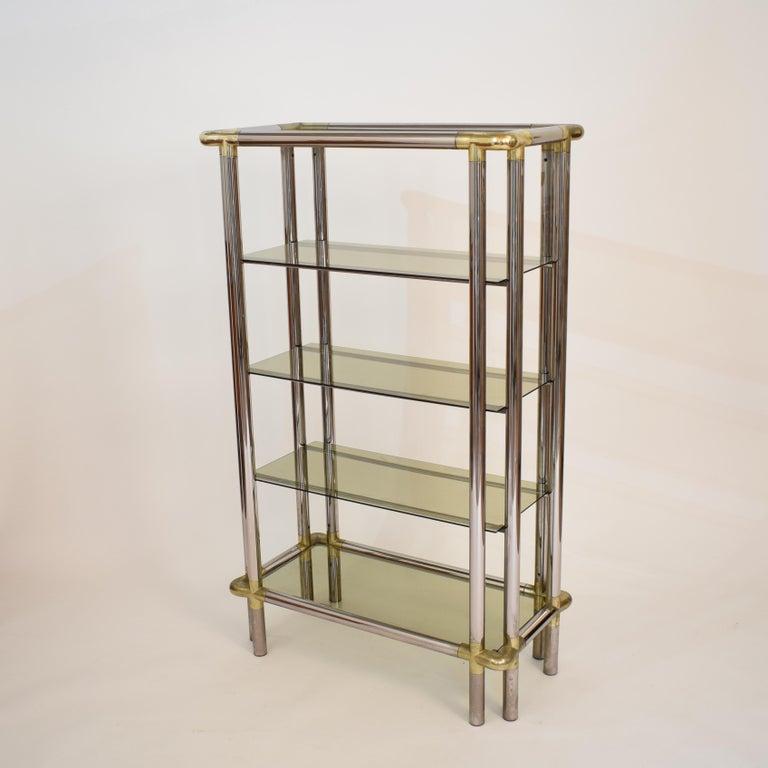 Midcentury French Hollywood Regency Chrome Brass Étagère Display Glass Shelf For Sale 1