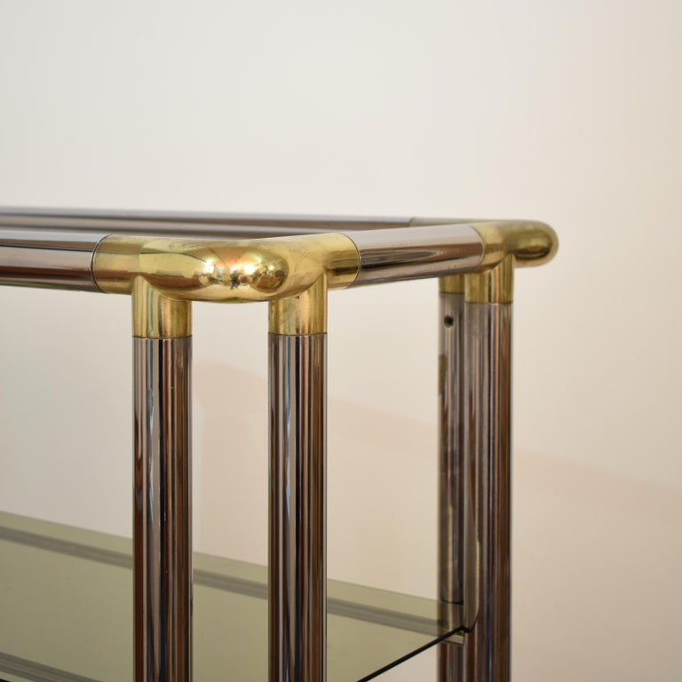 Midcentury French Hollywood Regency Chrome Brass Étagère Display Glass Shelf For Sale 2