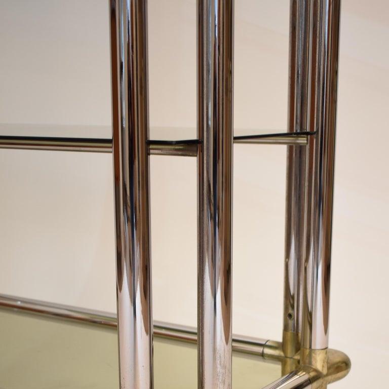 Midcentury French Hollywood Regency Chrome Brass Étagère Display Glass Shelf For Sale 3