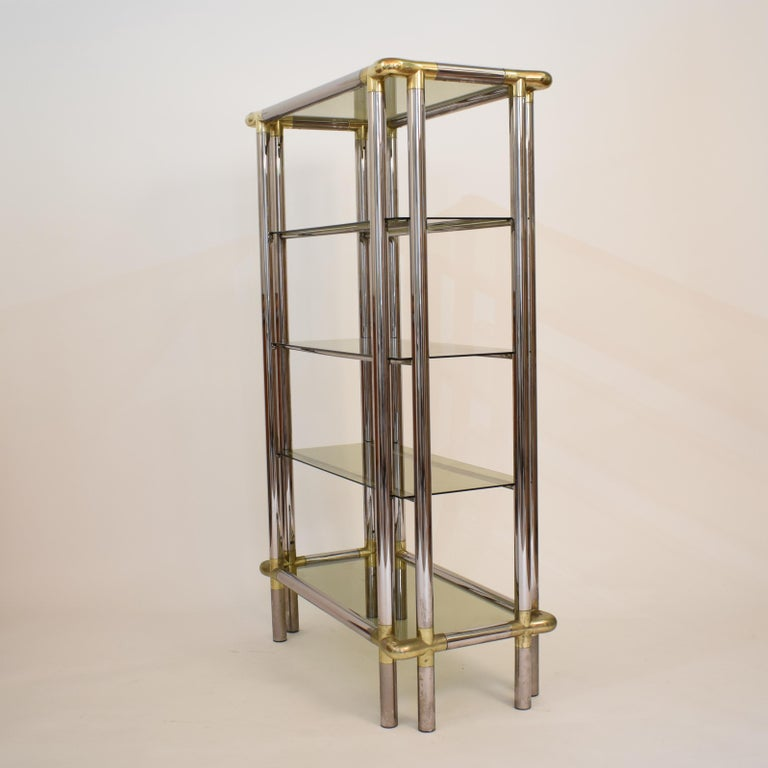 Midcentury French Hollywood Regency Chrome Brass Étagère Display Glass Shelf For Sale 6