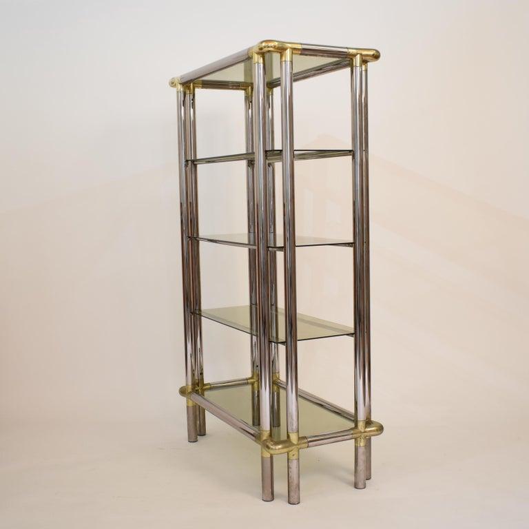 Midcentury French Hollywood Regency Chrome Brass Étagère Display Glass Shelf For Sale 4