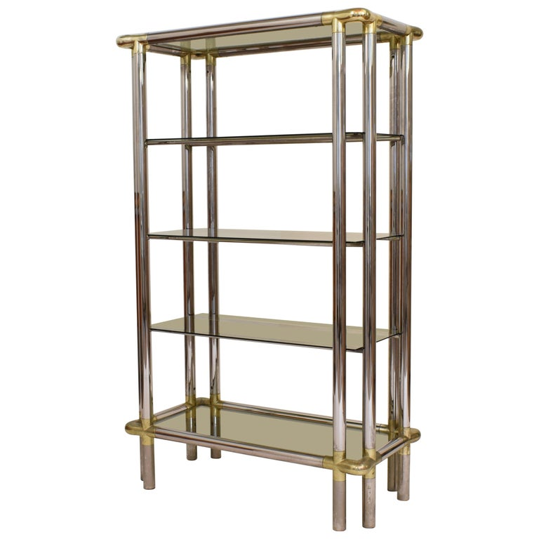 Midcentury French Hollywood Regency Chrome Brass Étagère Display Glass Shelf For Sale