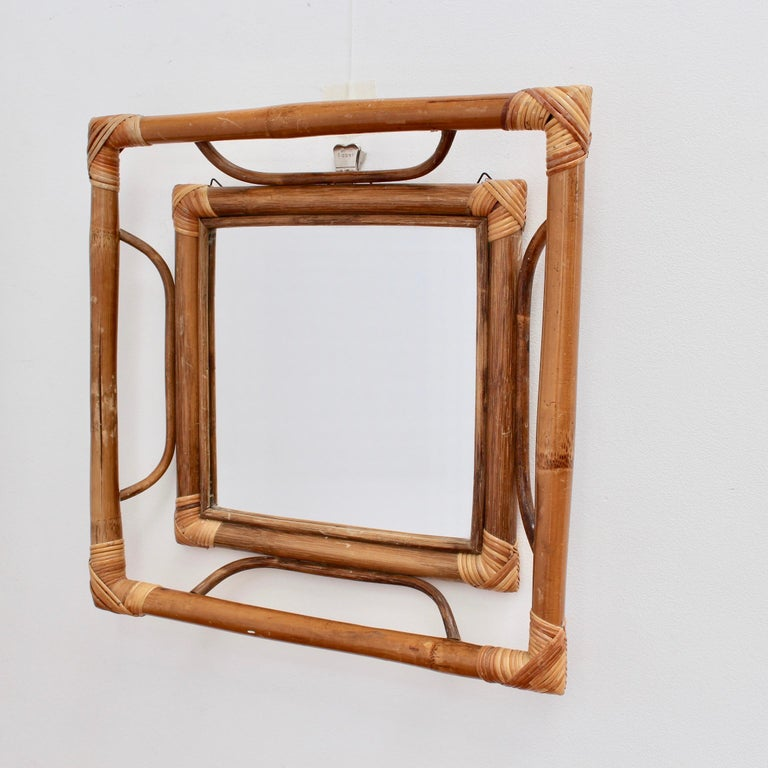 Midcentury French Indochine-Style Bamboo and Rattan Wall Mirror, circa 1960s For Sale 5