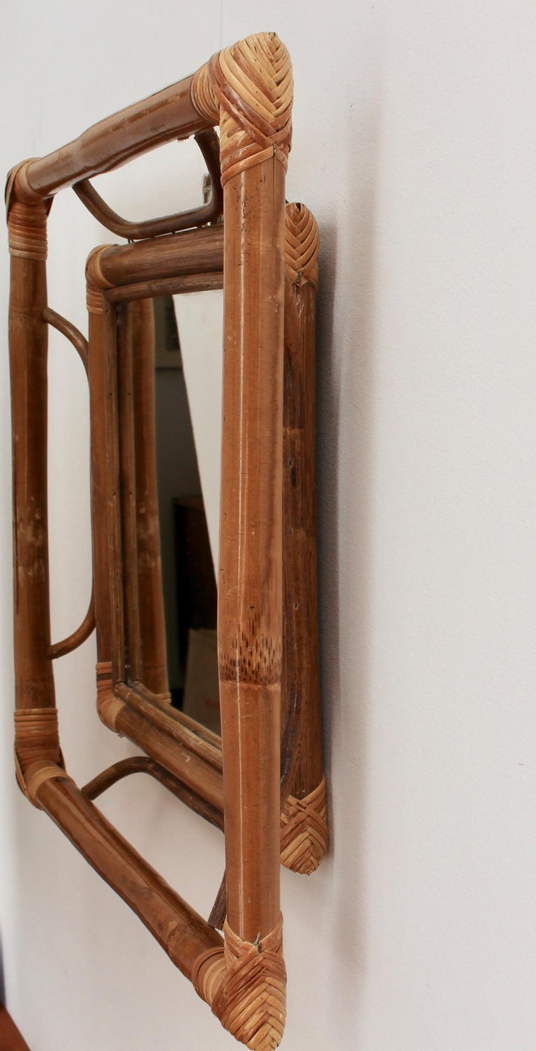 Midcentury French Indochine-Style Bamboo and Rattan Wall Mirror, circa 1960s For Sale 6