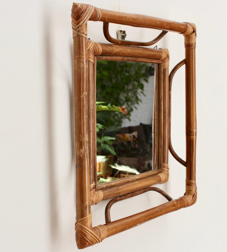 Midcentury French Indochine-Style Bamboo and Rattan Wall Mirror, circa 1960s For Sale 7