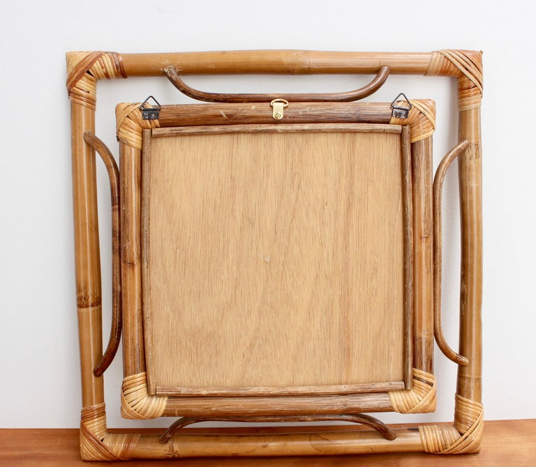 Midcentury French Indochine-Style Bamboo and Rattan Wall Mirror, circa 1960s For Sale 9