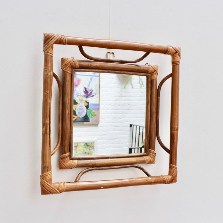 Mid-Century Modern Midcentury French Indochine-Style Bamboo and Rattan Wall Mirror, circa 1960s For Sale