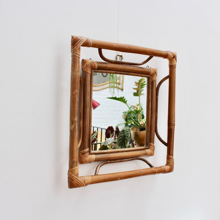 Midcentury French Indochine-Style Bamboo and Rattan Wall Mirror, circa 1960s In Fair Condition For Sale In London, GB