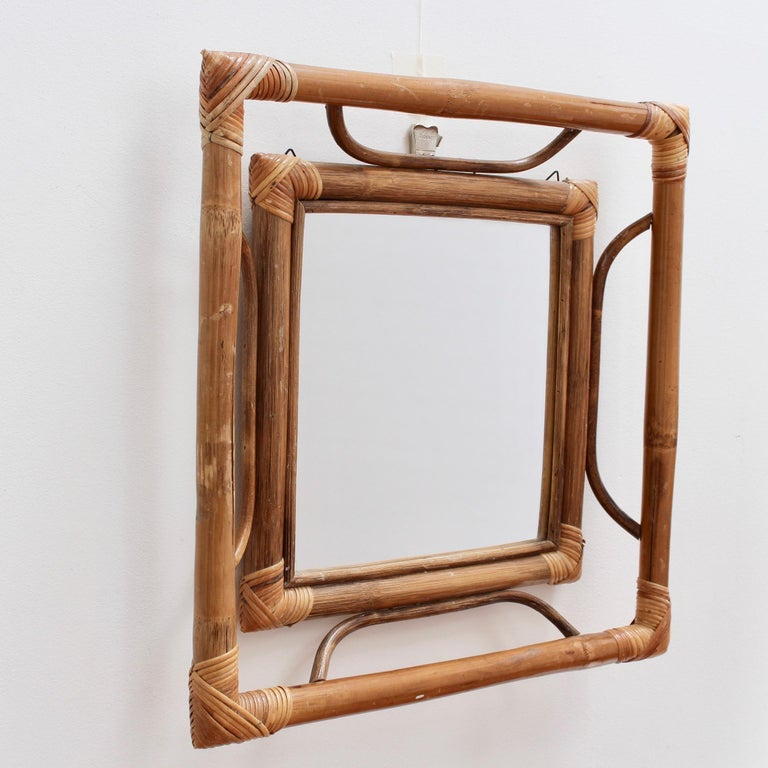 Mid-20th Century Midcentury French Indochine-Style Bamboo and Rattan Wall Mirror, circa 1960s For Sale