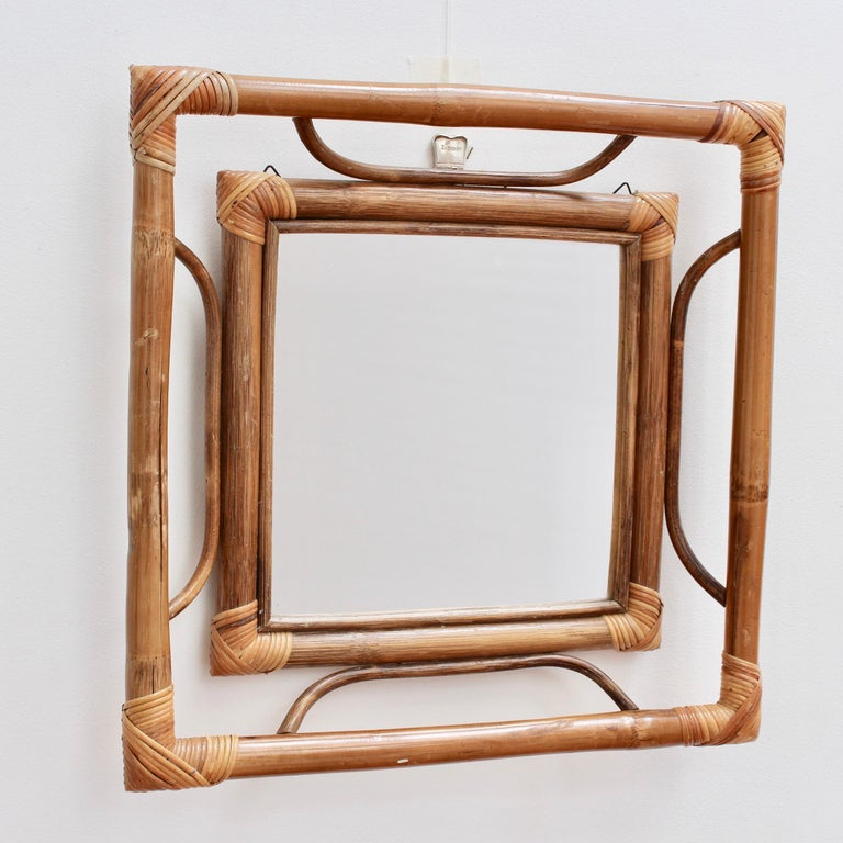 Midcentury French Indochine-Style Bamboo and Rattan Wall Mirror, circa 1960s For Sale 1