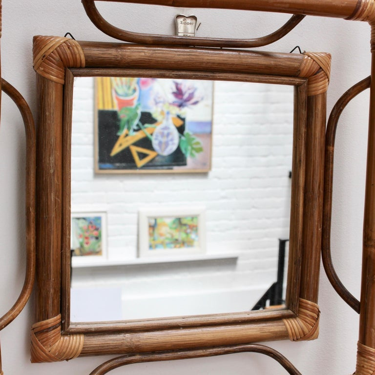 Midcentury French Indochine-Style Bamboo and Rattan Wall Mirror, circa 1960s For Sale 2