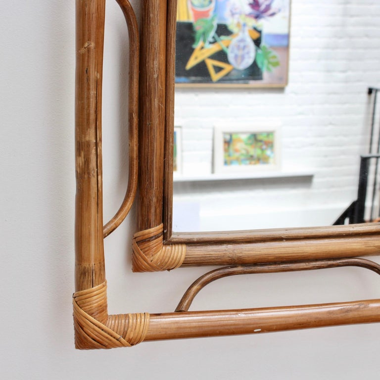Midcentury French Indochine-Style Bamboo and Rattan Wall Mirror, circa 1960s For Sale 3