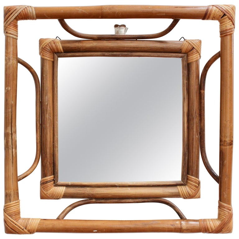 Midcentury French Indochine-Style Bamboo and Rattan Wall Mirror, circa 1960s For Sale