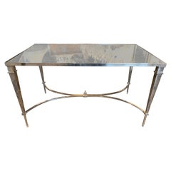 Midcentury French Jansen Style Steel Coffee Table with Mirrored Top
