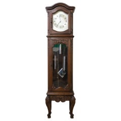Mid Century French Longcase or Grandfather Clock Louis XV Style with Chime