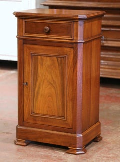 Mid-Century French Louis Philippe Walnut Bedside Cabinet