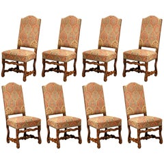 Midcentury French Louis XIII Carved Sheep Bone Dining Chairs, Set of Eight