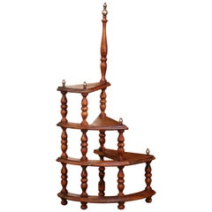 Mid-Century French Louis XIII Carved Walnut and Brass Spiral Library Step Ladder