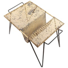 Midcentury French Magazine Rack Hairpin Steel Stand, 1950s