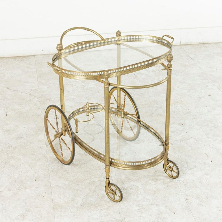 Midcentury French Maison Jansen Brass Bar Cart Glass Shelves and Removable Tray 11