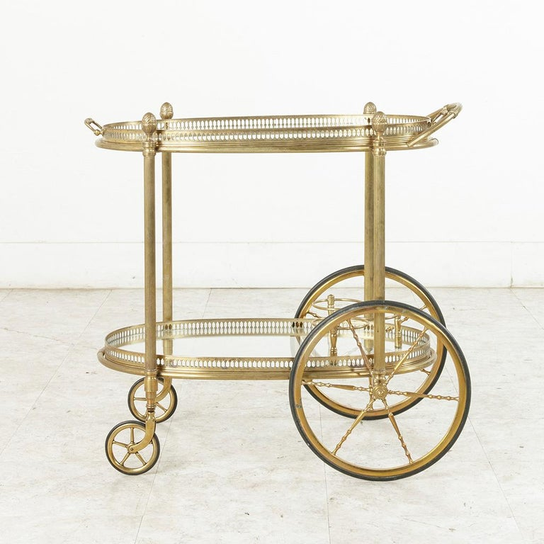 Midcentury French Maison Jansen Brass Bar Cart Glass Shelves and Removable Tray 2