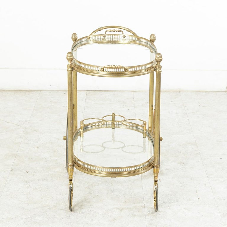 Midcentury French Maison Jansen Brass Bar Cart Glass Shelves and Removable Tray 3