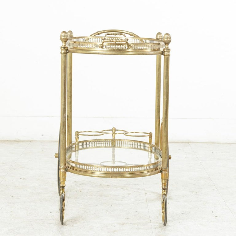 Midcentury French Maison Jansen Brass Bar Cart Glass Shelves and Removable Tray 4