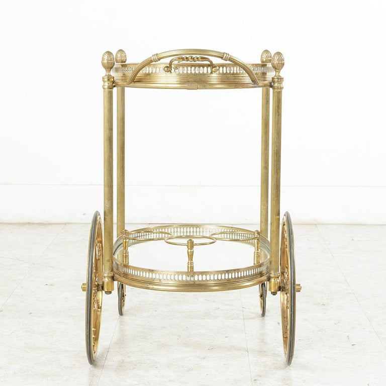 Midcentury French Maison Jansen Brass Bar Cart Glass Shelves and Removable Tray 5