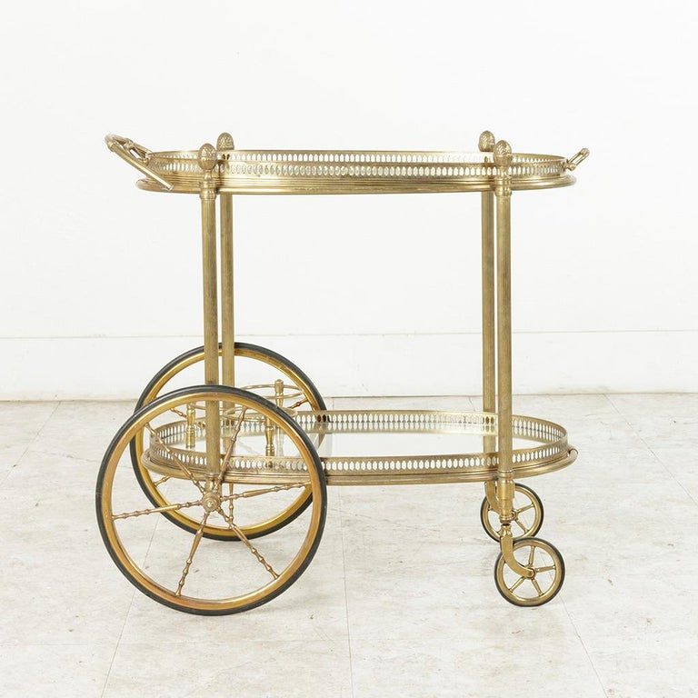 Midcentury French Maison Jansen Brass Bar Cart Glass Shelves and Removable Tray 6