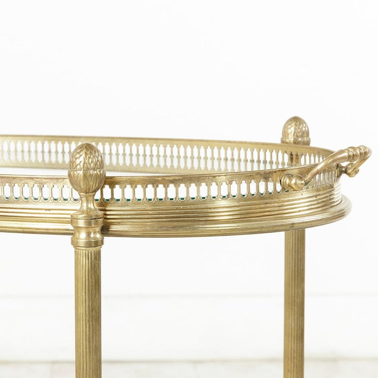 Midcentury French Maison Jansen Brass Bar Cart Glass Shelves and Removable Tray 8