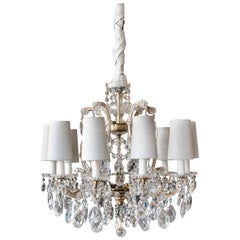 Mid-century French Marie Therese Baccarat Style 10 Light Crystal Chandelier 1950