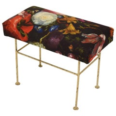 Midcentury French Metal Stool with a Flower Fabric Upholstered Seat, circa 1960