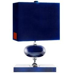 Mid-Century French Modern Enamelled Brass Geometric Lamp, Blue, Maison Barbier