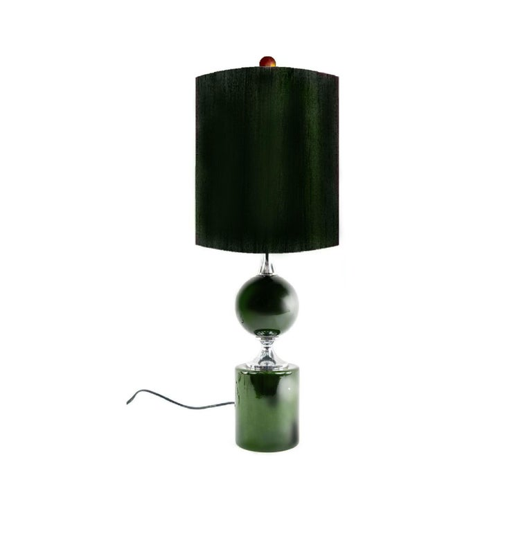 Midcentury French Modern Enameled Brass Geometric Lamp Pair, Maison Barbier For Sale 5