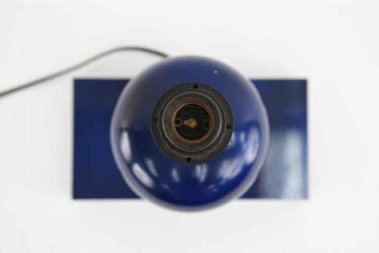 Midcentury French Modern Enameled Brass Geometric Lamp Pair, Maison Barbier For Sale 1