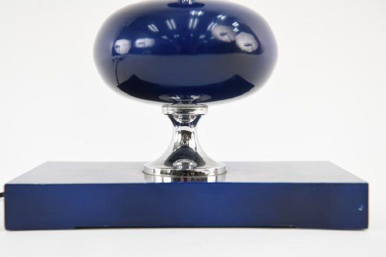 Midcentury French Modern Enameled Brass Geometric Lamp Pair, Maison Barbier For Sale 3