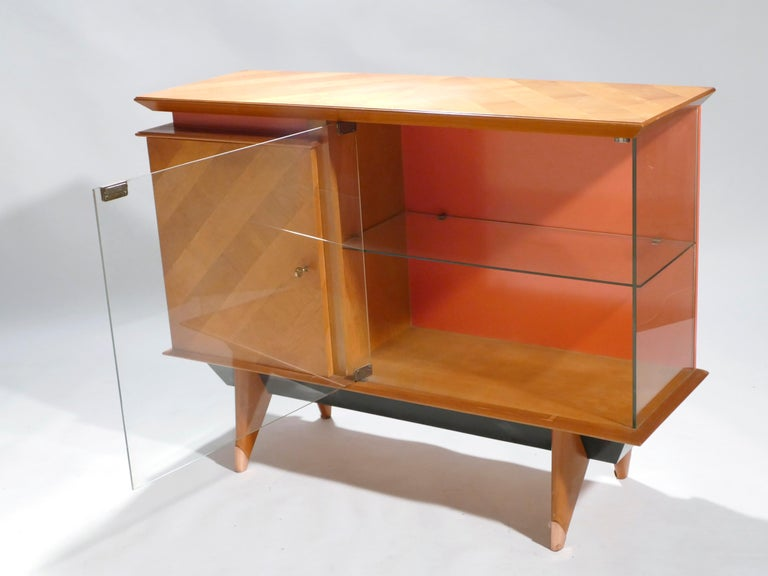 Copper Midcentury French Modernist Cabinet Vaisselier, 1950s For Sale