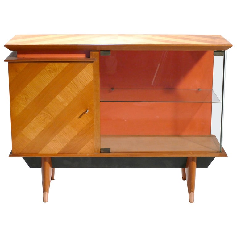 Midcentury French Modernist Cabinet Vaisselier, 1950s For Sale