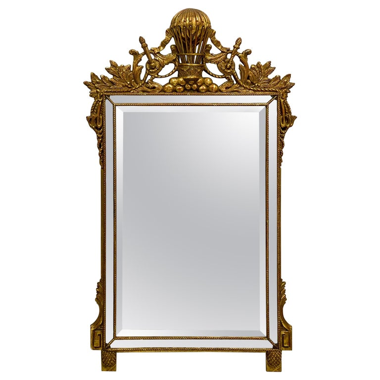 Midcentury French Napoleonic Themed Carved Giltwood Mirror For Sale