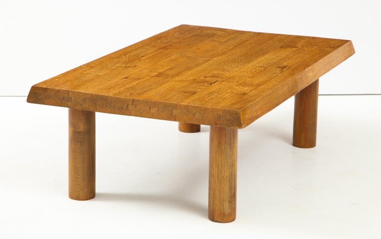 Midcentury French Oak Coffee Table In Good Condition For Sale In New York City, NY