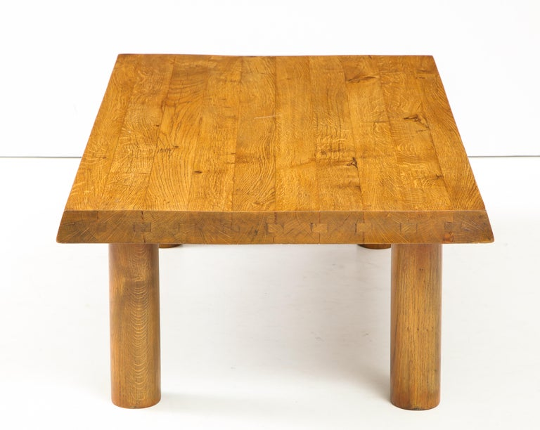 20th Century Midcentury French Oak Coffee Table For Sale