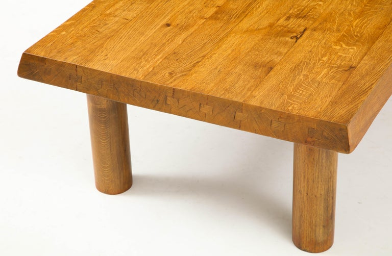 Midcentury French Oak Coffee Table For Sale 1