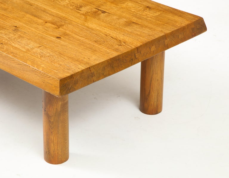 Midcentury French Oak Coffee Table For Sale 2