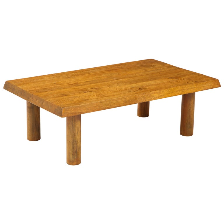 Midcentury French Oak Coffee Table For Sale