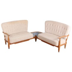 Mid Century French Oak-Framed Corner Sofa with Tiles by Guillerme and Chambron