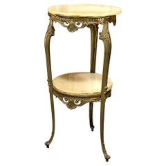 Mid-Century French Onyx & Brass Lamp Table