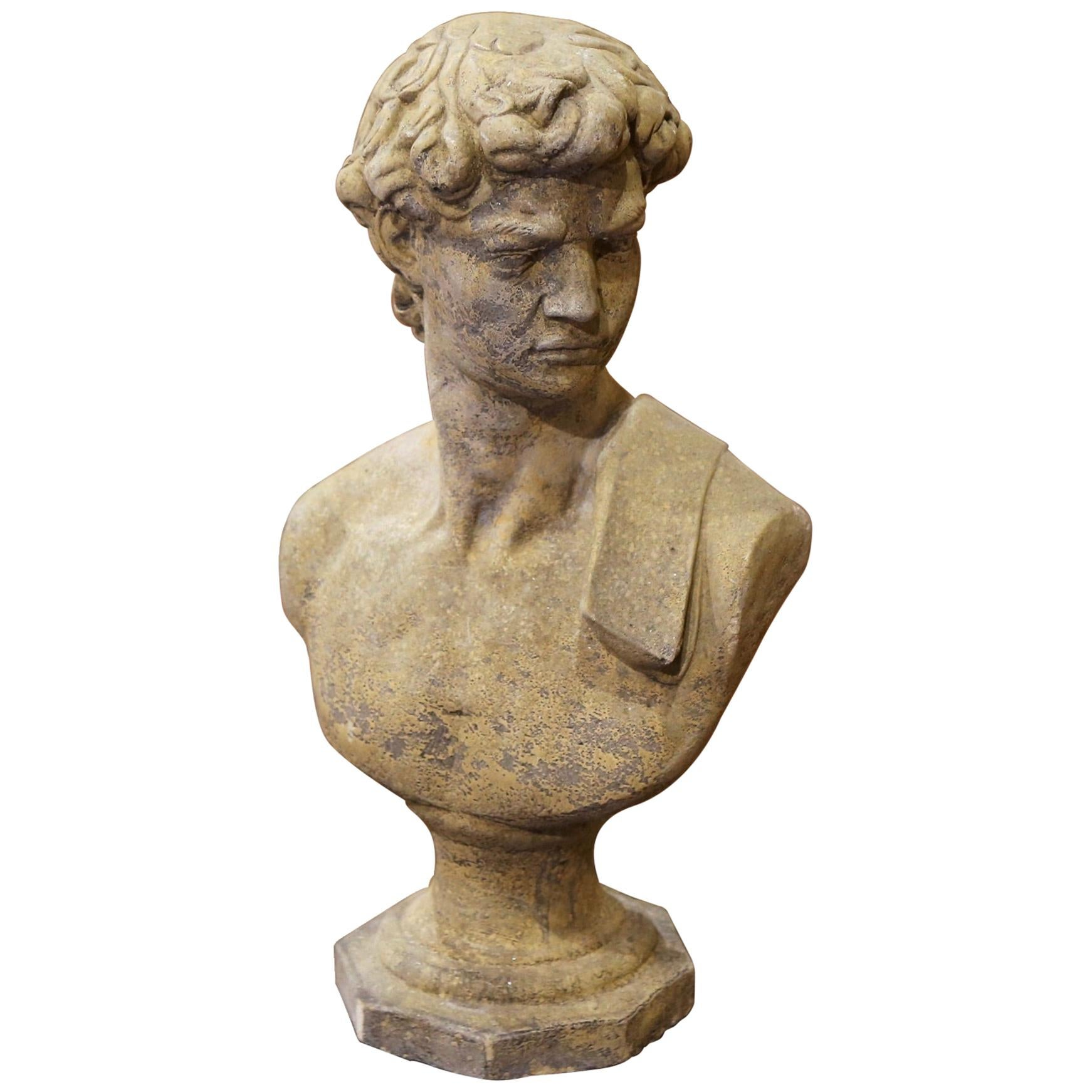 Midcentury French Outdoor Weathered Cast Stone Statuary Roman Bust