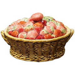 """Mid-Century French Painted Barbotine Trompe L""""Oeil Plum Dish from Sarreguemines"""